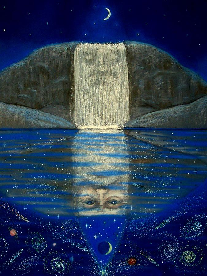 Fantasy Painting - Cosmic Wizard Reflection by Sue Halstenberg