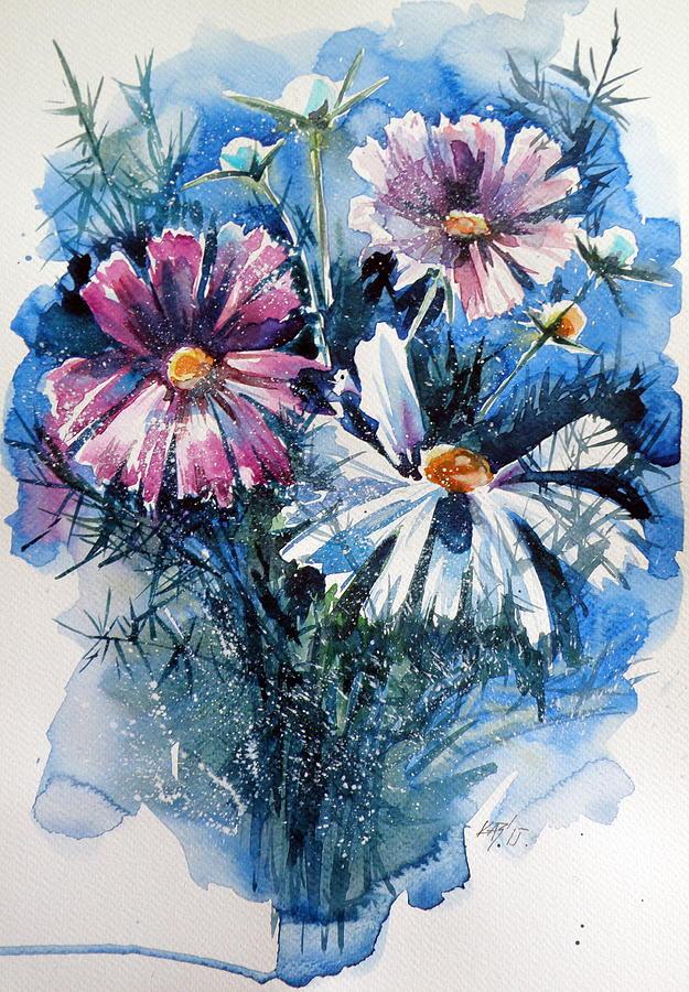 Flower Painting - Cosmos Flowers by Kovacs Anna Brigitta