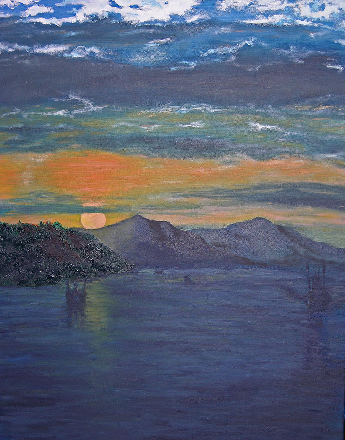 Seascape Painting - Costa Rica Sunset by Ladonna Idell