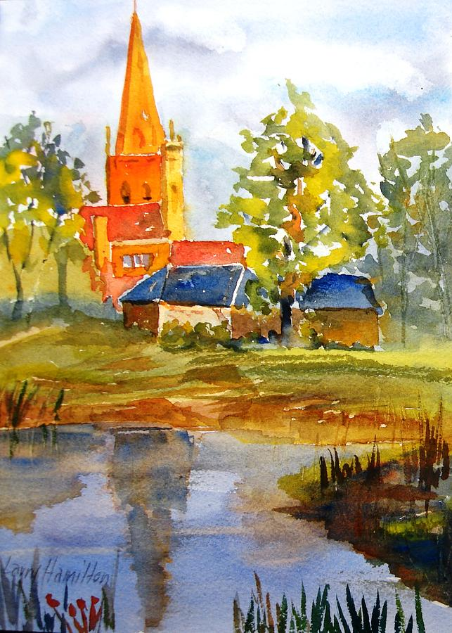 Watercolor Painting - Cotswolds England Church by Larry Hamilton