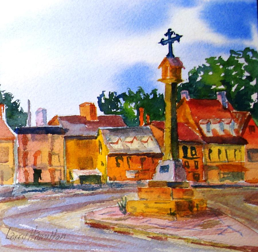 Watercolor Painting - Cotswolds Town Center by Larry Hamilton
