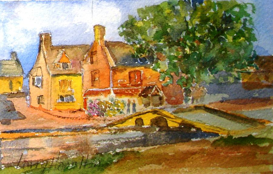 Watercolor Painting - Cotswolds Town Study by Larry Hamilton