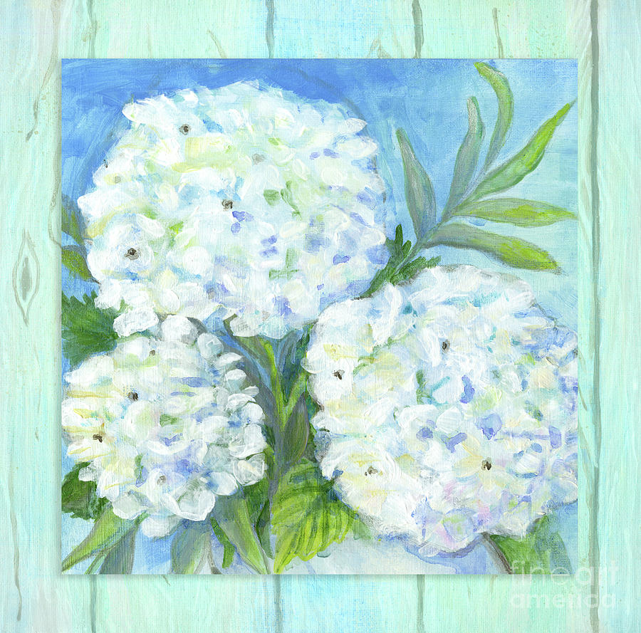 White Hydrangeas Painting - Cottage At The Shore 5 White Hydrangea Floral Over Wood by Audrey Jeanne Roberts