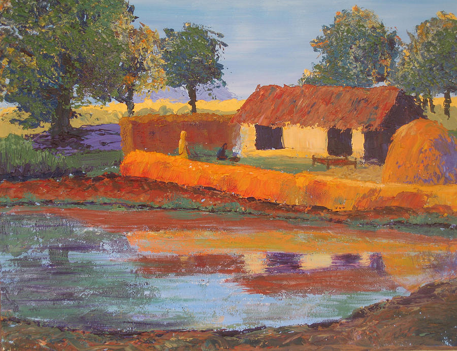 Cottage Painting - Cottage By The Pond by Art Nomad Sandra  Hansen