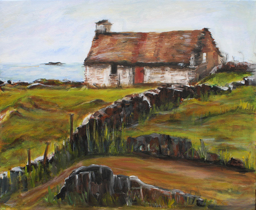 Irish Painting - Cottage By The Sea by Denice Palanuk Wilson
