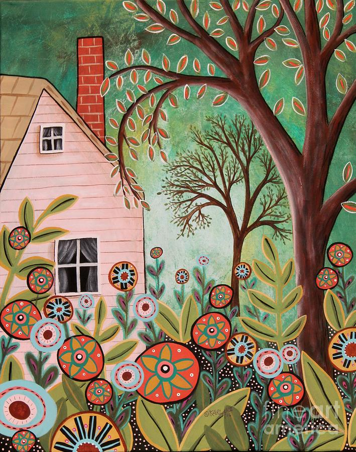 Landscape Painting - Cottage Garden 1 by Karla Gerard