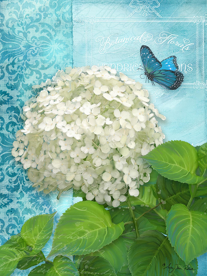 Cottage Garden White Hydrangea With Blue Butterfly