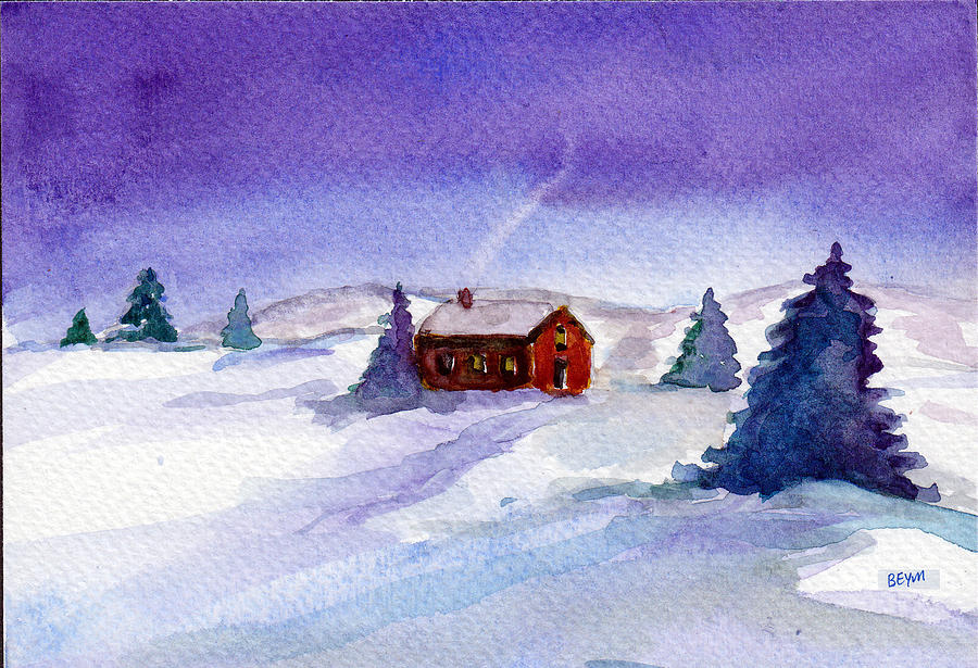 Cottage in winter by Clara Sue Beym