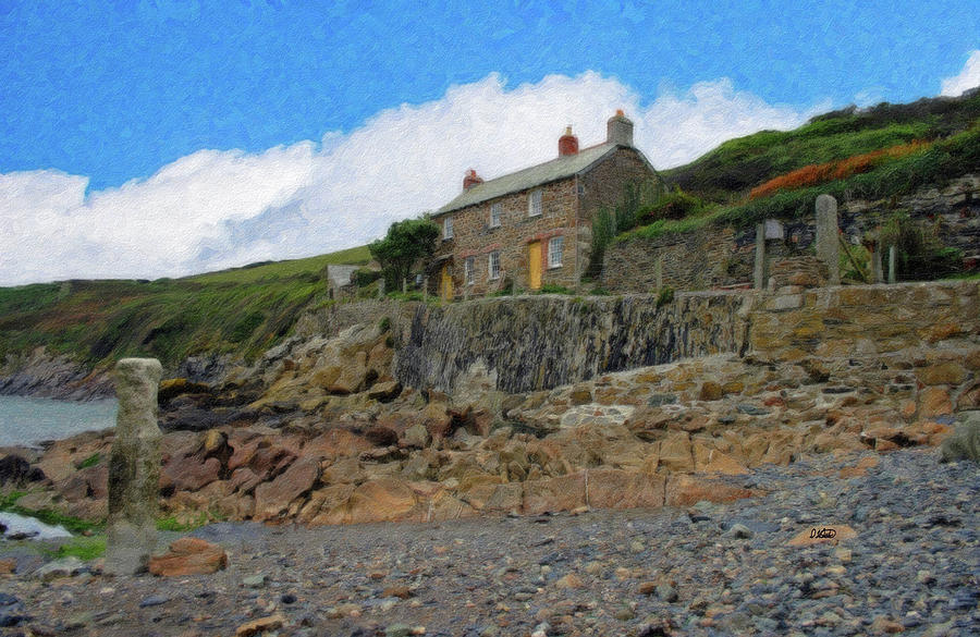 Cottage Painting - Cottage On Rocks At Port Quin - P4a16009 by Dean Wittle