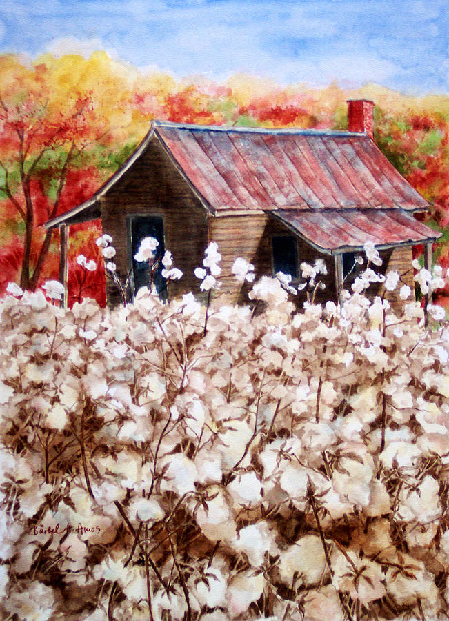 Cotton Painting - Cotton Barn by Barbel Amos