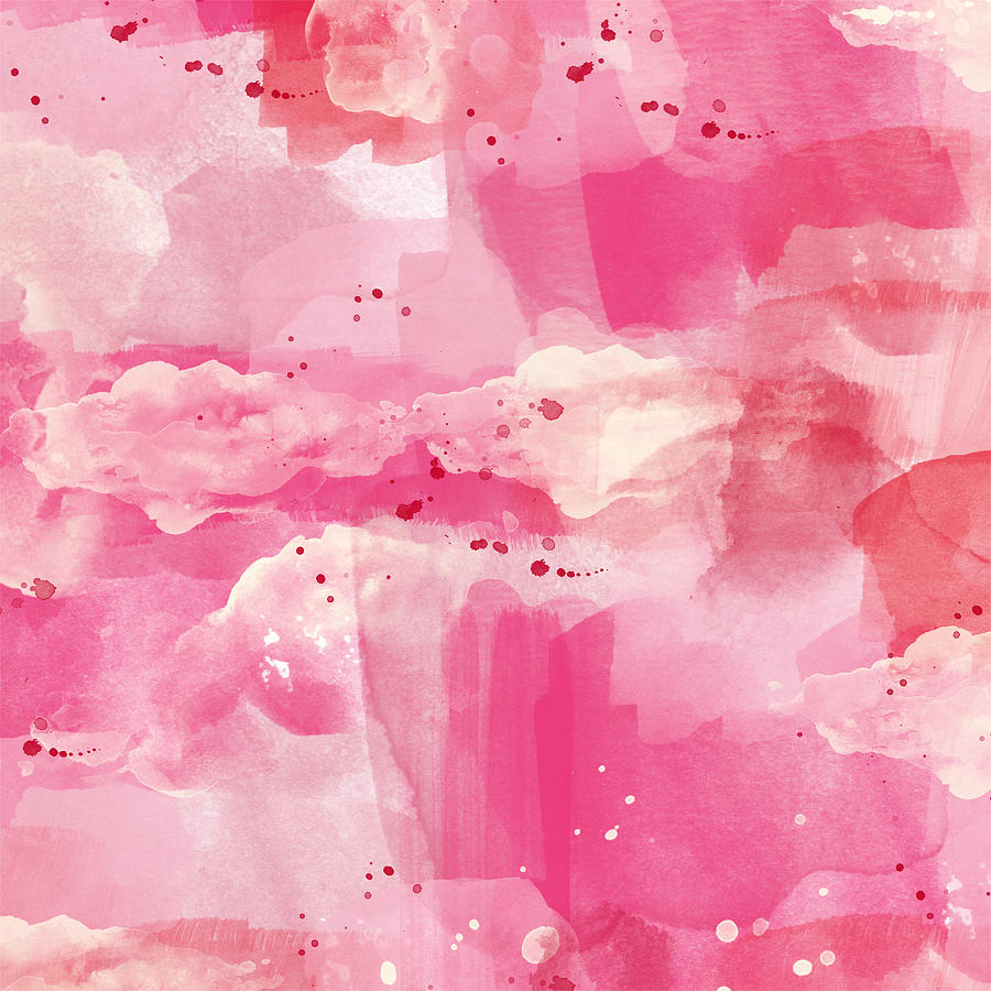Abstract Painting - Cotton Candy Clouds- Abstract Watercolor by Linda Woods