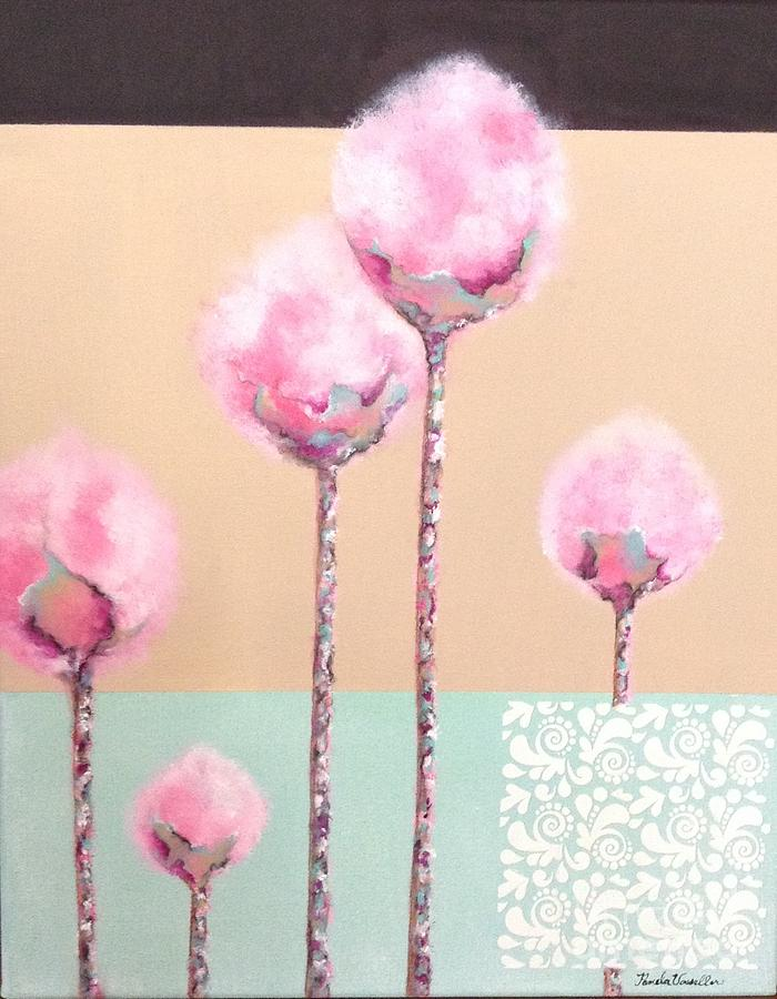 Florals Painting - Cotton-Candy Florals by Pamela Vosseller