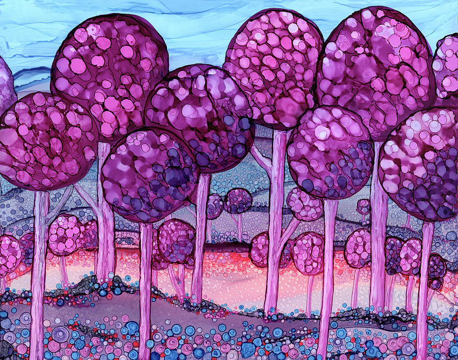 Alcohol Ink Painting - Cotton Candy Forest by Jennifer Allison
