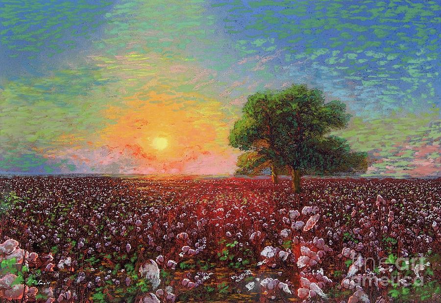 Cotton Field Sunset Painting
