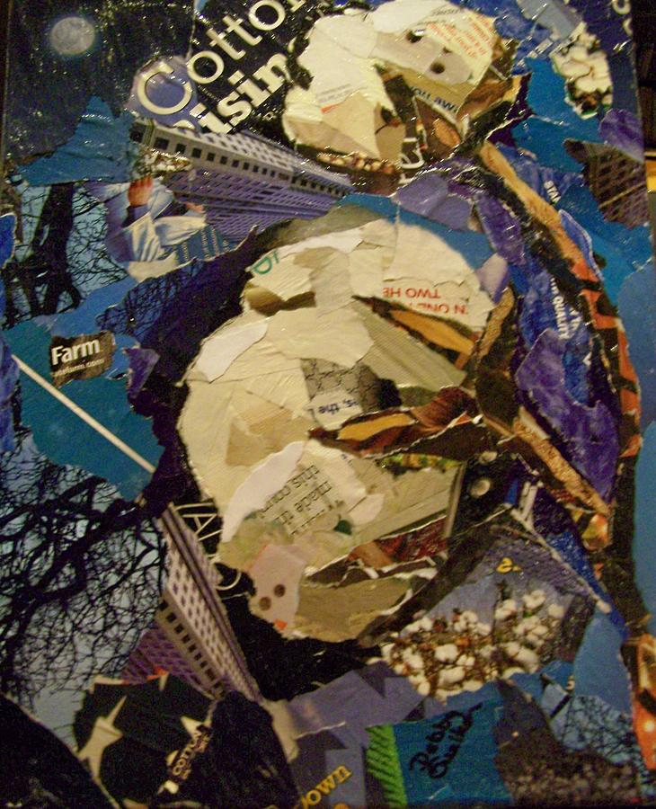 Torn Paper Collage Mixed Media - Cotton Rising by Debby Guelker