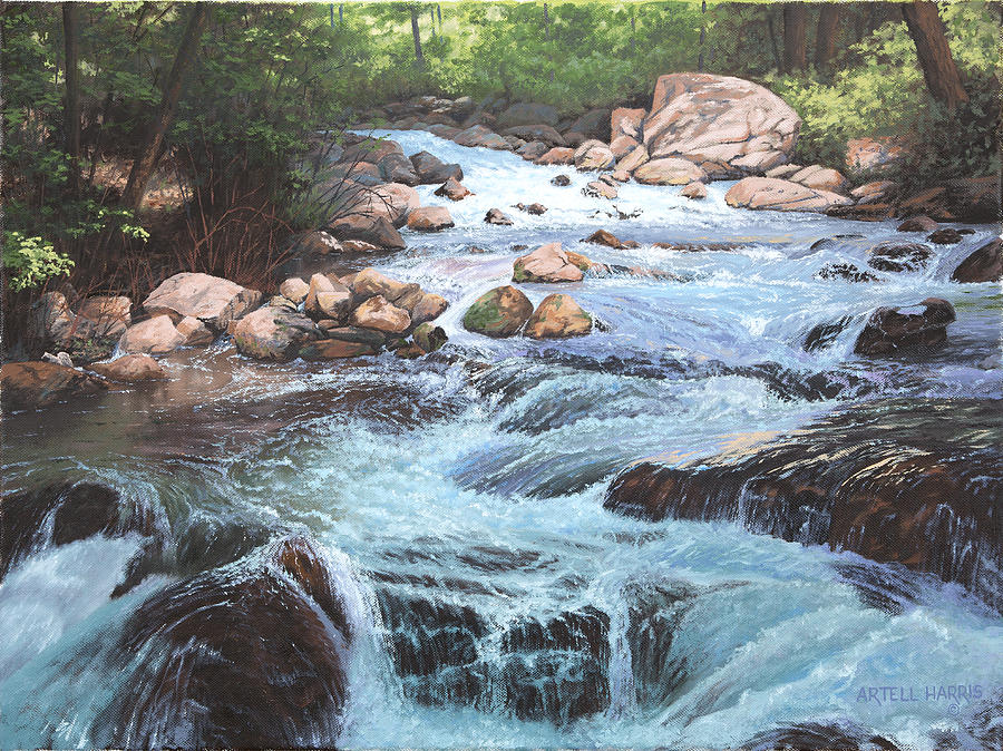 Oil Painting Painting - Cotton Wood Creek #4 by Artell Harris