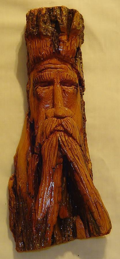 Wood Spirit Sculpture - Cottonwood Bark  Wood Spirit by Russell Ellingsworth