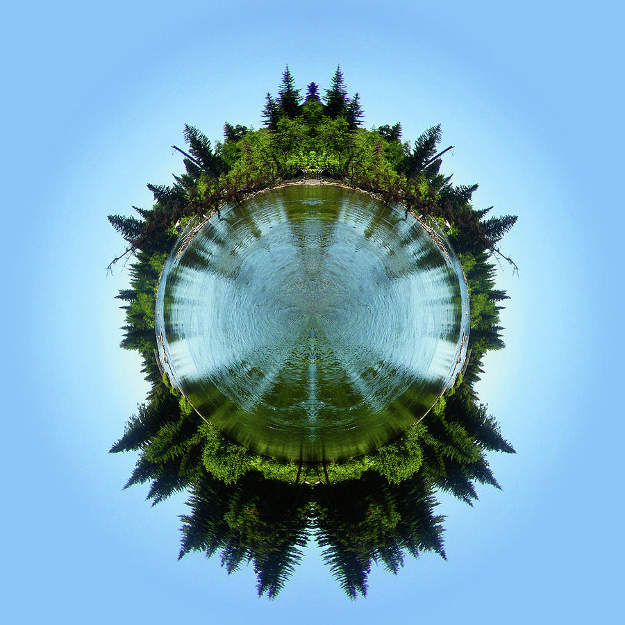 Blue Photograph - Cottonwood Creek Mirrored Stereographic Projection by K Bradley Washburn