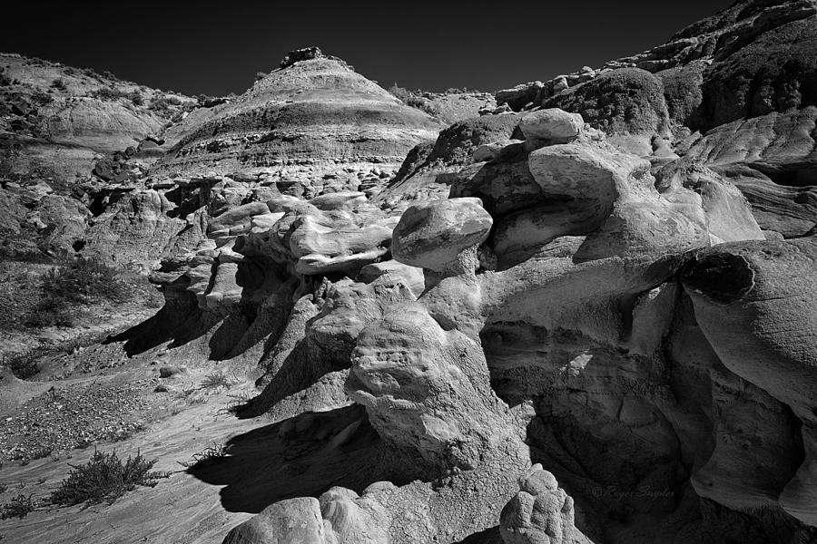 Black And White Photograph - Cottonwood Creek Strange Rocks 6 Bw by Roger Snyder