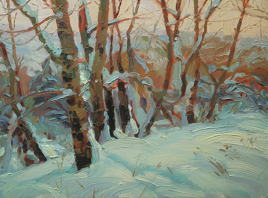 Winter Painting - Cottonwood Grove by Steve Henderson