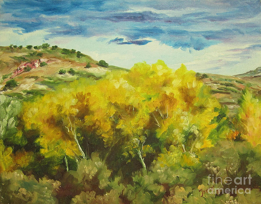 Landscape Painting - Cottonwoods by Theresa Higby