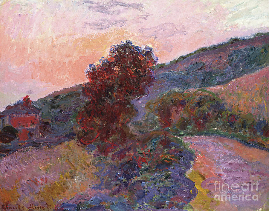 Coucher De Soleil A Giverny, 1886 Painting by Claude Monet