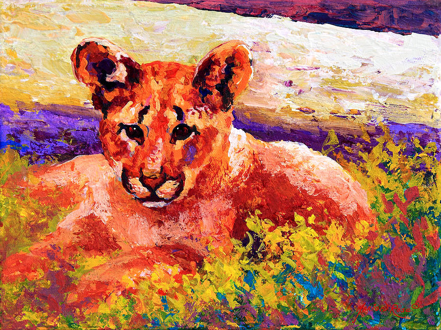 Mountain Lion Painting - Cougar Cub by Marion Rose