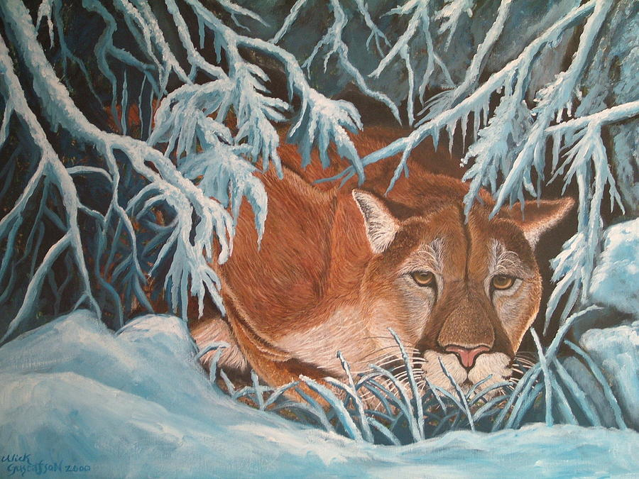 Cougar In Snow Painting by Nick Gustafson