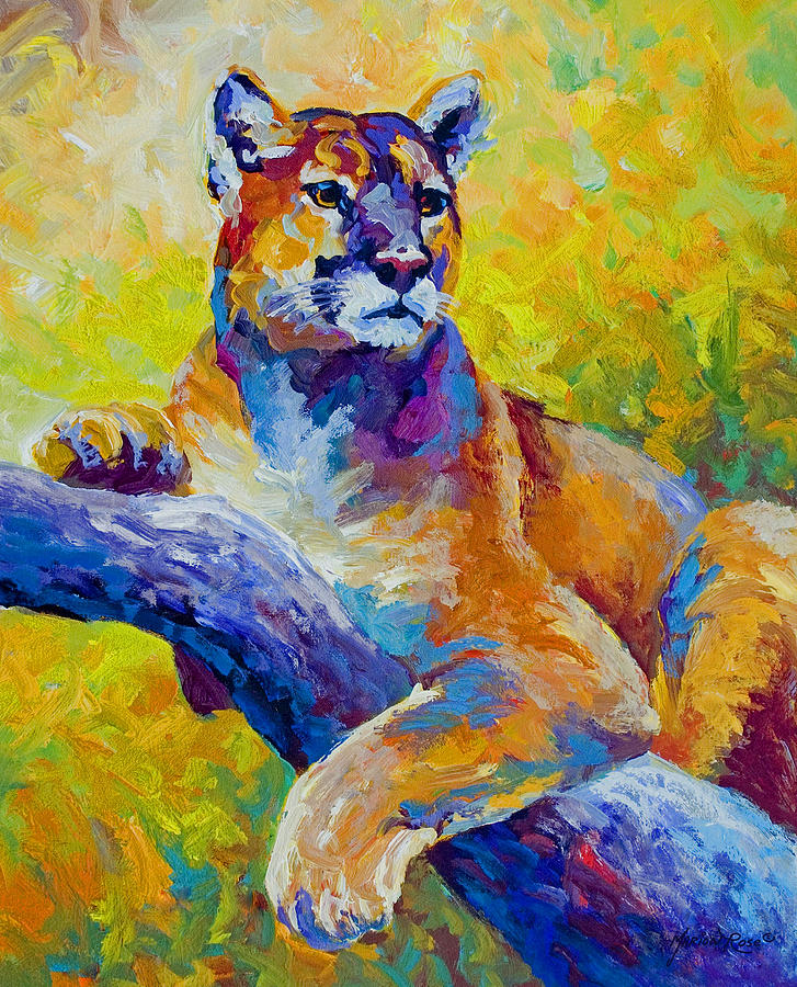 Mountain Lion Painting - Cougar Portrait I by Marion Rose