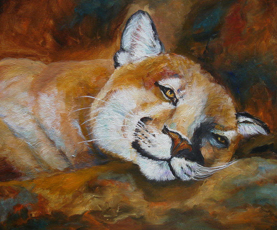 Mountian Lion Painting - Cougar Wildlife Painting by Mary Jo Zorad