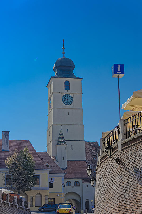 Architecture Photograph - Council Tower Sibiu Romania tower on blue sky by Adrian Bud