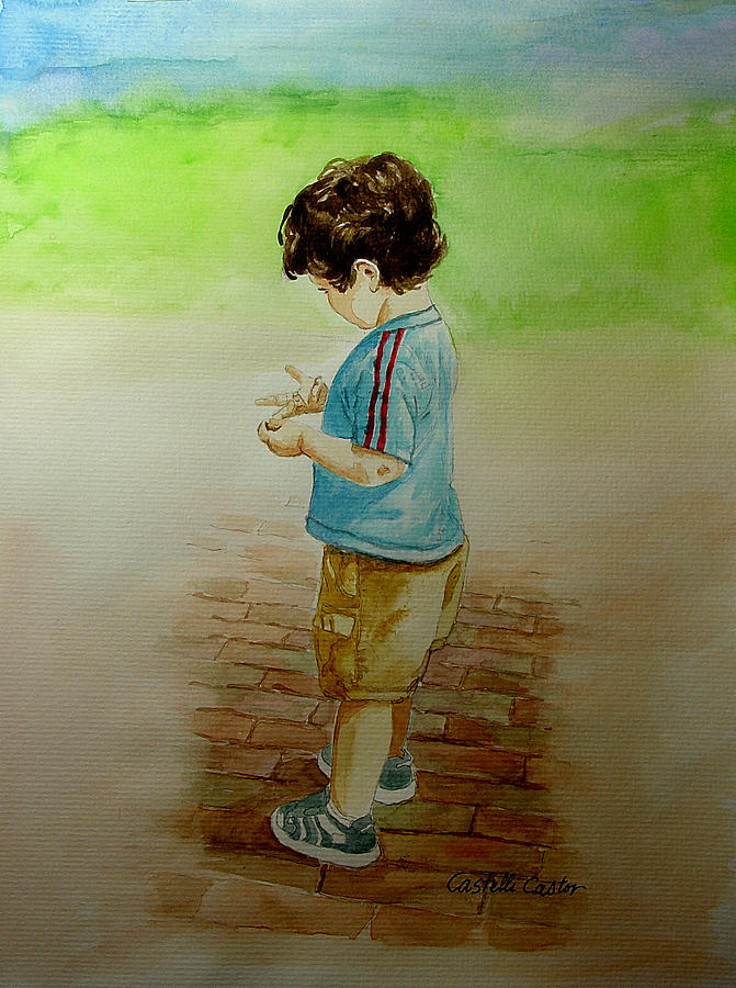 Children Painting - Counting by JoAnne Castelli-Castor