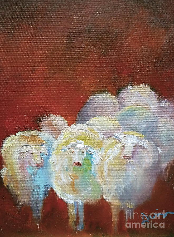 Lambs Painting - Counting Sheep by Xx X