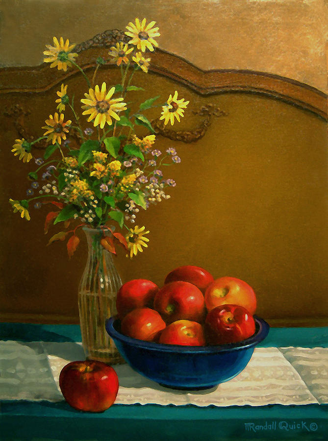 Still Life Painting - Country Apples by Randall R Quick