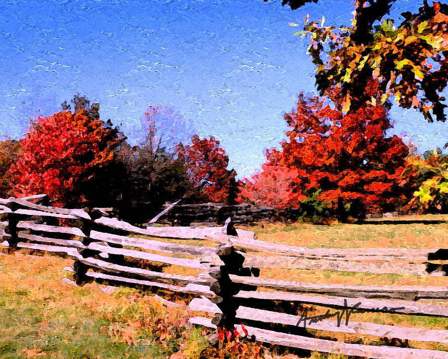 Fence Digital Art - Country Autumn by Anthony Caruso