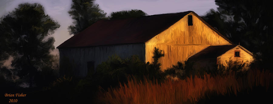 Landscape Digital Art - Country Barn by Brian Fisher
