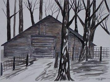 COUNTRY BARN pen and ink drawing print Painting by Derek Mccrea