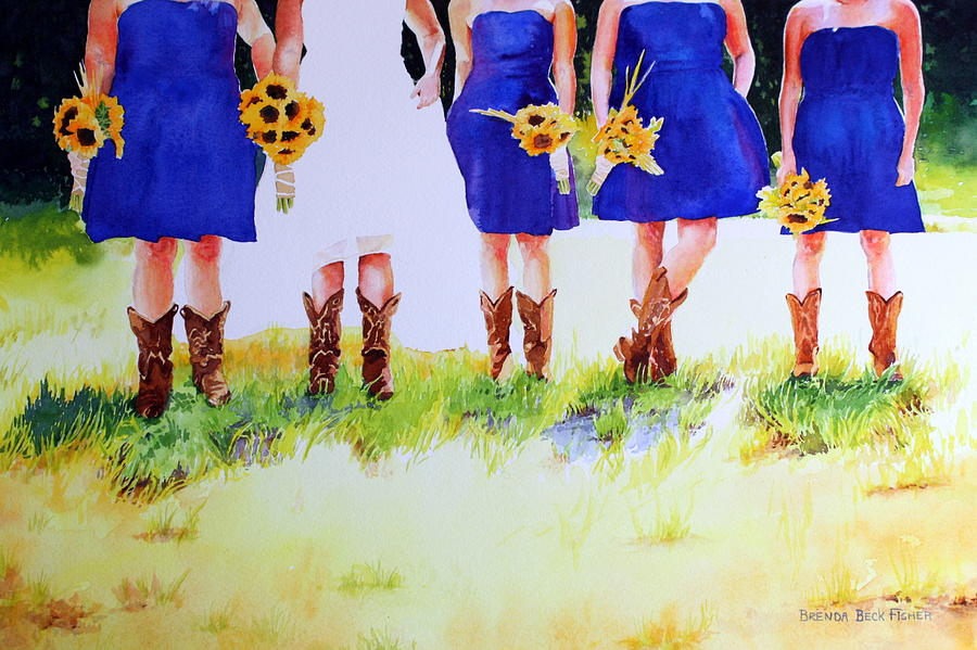 Bride Painting - Country Bride by Brenda Beck Fisher