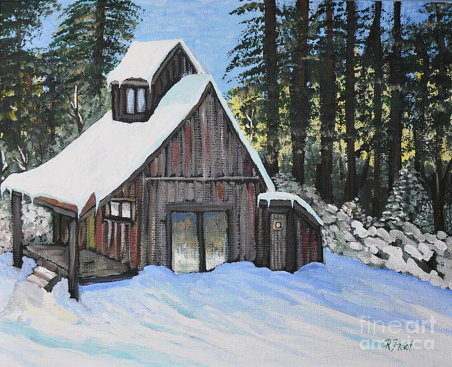 Cabins Painting - Country Cabin by Reb Frost