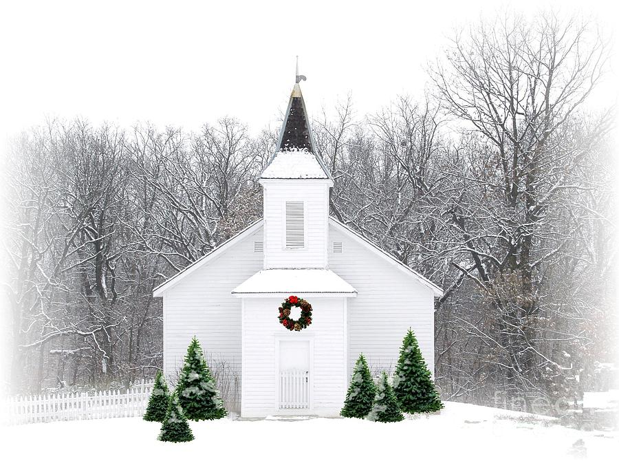 Church Photograph - Country Christmas Church by Carol Sweetwood