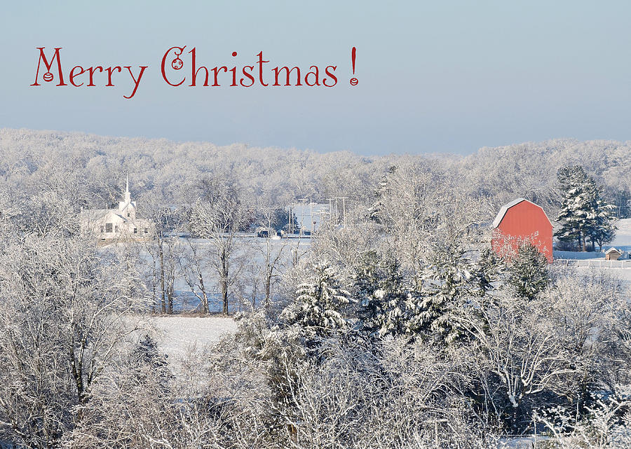 Red Barn Photograph - Country Christmas by Regine Brindle