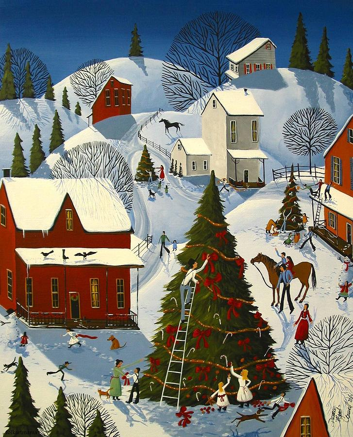 Country Christmas Tree Contest Painting by Debbie Criswell