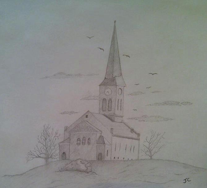Country Church Drawing By John Cunnane