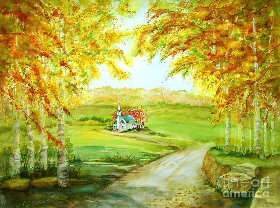 Landscapes Painting - Country Church by Maryann Schigur
