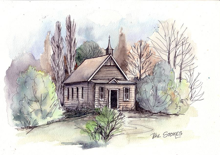 Church Painting - Country Church by Val Stokes