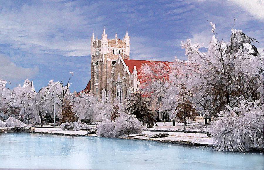 Winter Photograph - Country Club Christian Church by Steve Karol