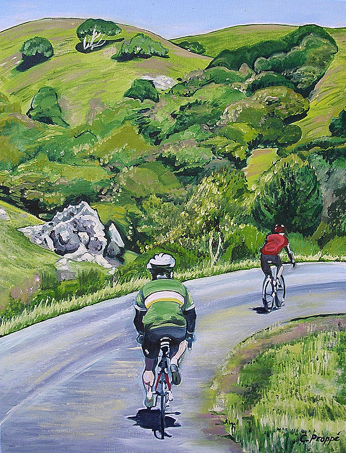 Bikes Painting - Country Cyclists by Colleen Proppe
