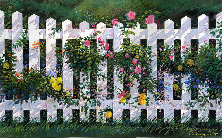 Flowers Pastel - Country Fence by Valer Ian