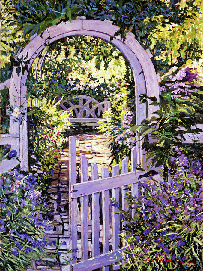 Country Garden Gate Painting By David Lloyd Glover