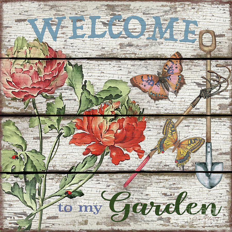 Floral Painting - Country Garden Sign-b by Jean Plout
